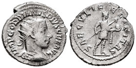 Gordian III. Antoniniano. 242-244 d.C. (Spink-8659). (Seaby-319). Ag. 3,97 g. Choice F/Almost VF. Est...25,00.