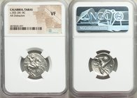 CALABRIA. Tarentum. Ca. 302-281 BC. AR didrachm (20mm, 10h). NGC VF. Helmeted cavalryman on horseback right, thrusting with spear held in right hand, ...