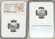 LUCANIA. Heraclea. Ca. 330-325 BC. AR stater (18mm, 7.80 gm, 6h). NGC AU 4/5 - 3/5, Fine Style. Corinthian standard. ?HΡΑΚΛΗΙΩΝ, head of Athena right,...