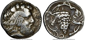 SICILY. Naxos. Ca. 420-403 BC. AR litra (11mm, .85 gm, 6h). NGC VF 5/5 - 4/5. ΝΑΞΙ, bearded head of Dionysus right, wreathed in ivy / Bunch of grapes ...