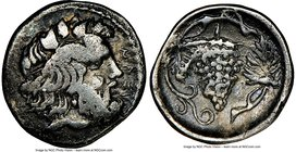 SICILY. Naxos. Ca. 420-403 BC. AR litra (11mm, 1.00 gm, 9h). NGC VF 5/5 - 3/5. ΝΑΞΙ, bearded head of Dionysus right, wreathed in ivy / Bunch of grapes...