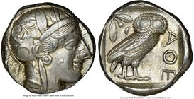 ATTICA. Athens. Ca. 440-404 BC. AR tetradrachm (23mm, 17.20 gm, 11h). NGC AU 5/5 - 4/5. Mid-mass coinage issue. Head of Athena right, wearing crested ...
