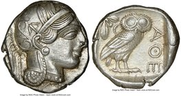 ATTICA. Athens. Ca. 440-404 BC. AR tetradrachm (24mm, 17.18 gm, 10h). NGC AU 4/5 - 5/5. Mid-mass coinage issue. Head of Athena right, wearing crested ...