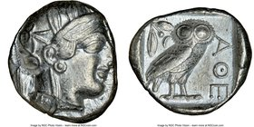 ATTICA. Athens. Ca. 440-404 BC. AR tetradrachm (22mm, 17.17 gm, 9h). NGC AU 4/5 - 4/5. Mid-mass coinage issue. Head of Athena right, wearing crested A...