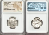 ATTICA. Athens. Ca. 440-404 BC. AR tetradrachm (24mm, 17.17 gm, 2h). NGC Choice XF 5/5 - 4/5. Mid-mass coinage issue. Head of Athena right, wearing cr...