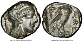 ATTICA. Athens. Ca. 440-404 BC. AR tetradrachm (24mm, 17.24 gm, 1h). NGC Choice XF 4/5 - 4/5. Mid-mass coinage issue. Head of Athena right, wearing cr...