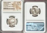 ATTICA. Athens. Ca. 440-404 BC. AR tetradrachm (24mm, 17.17 gm, 4h). NGC Choice XF, 4/5 - 4/5. Mid-mass coinage issue. Head of Athena right, wearing c...
