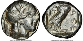ATTICA. Athens. Ca. 440-404 BC. AR tetradrachm (24mm, 17.18 gm, 7h). NGC XF 4/5 - 4/5. Mid-mass coinage issue. Head of Athena right, wearing crested A...
