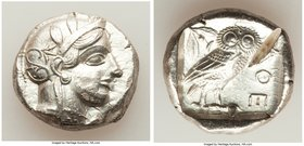 ATTICA. Athens. Ca. 440-404 BC. AR tetradrachm (24mm, 17.25 gm, 7h). AU, test cut. Mid-mass coinage issue. Head of Athena right, wearing crested Attic...