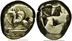 MYSIA. Cyzicus. Ca. 500-450 BC. EL stater (19mm, 18.06 gm). NGC Choice Fine 4/5 - 4/5. Roaring griffin with rounded wing seated left, right foreleg ra...