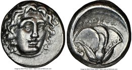 CARIAN ISLANDS. Rhodes. Ca. 340-305 BC. AR didrachm (19mm, 12h). NGC Choice VF. Head of Helios facing, turned slightly right, hair parted in center an...