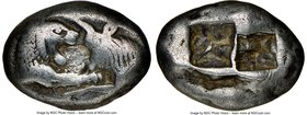 LYDIAN KINGDOM. Croesus (561-546 BC). AR stater (21mm, 10.50 gm). NGC Choice Fine 5/5 - 3/5, marks. Sardes, ca. 561-550 BC. Confronted foreparts of li...