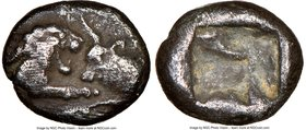 LYDIAN KINGDOM. Croesus (561-546 BC). AR 1/12 stater (8mm, 0.78 gm). NGC VF 5/5 - 3/5. Sardes. Confronted foreparts lion on left and bull on right, ea...