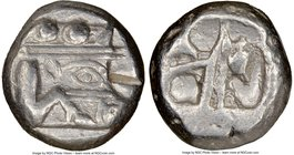 LYCIA. Phaselis. Ca. 530-500 BC. AR stater (19mm) NGC XF, test cut. Prow of galley left, in the form of a boar's head and foreleg, three shields above...