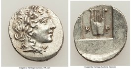 LYCIAN LEAGUE. Cragus. Ca. 48-20 BC. AR hemidrachm (15mm, 1.92 gm, 12h). XF. Series 1. Laureate head of Apollo right; Λ-Y below / K-P, cithara (lyre);...