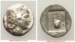 LYCIAN LEAGUE. Masicytes. Ca. 48-20 BC. AR hemidrachm (14mm, 1.95 gm, 1h). XF. Series 1. Laureate head of Apollo right; Λ-Y below / M-A, cithara (lyre...