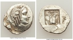 LYCIAN LEAGUE. Masicytes. Ca. 48-20 BC. AR hemidrachm (17mm, 2.08 gm, 1h). Choice XF. Series 5. Laureate head of Apollo right; Λ-Y below / M-A, cithar...