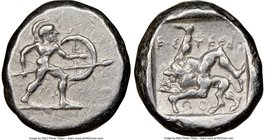 PAMPHYLIA. Aspendus. Ca. mid-5th century BC. AR stater (20mm, 12h). NGC VF. Helmeted nude hoplite warrior advancing right, shield in left hand, spear ...