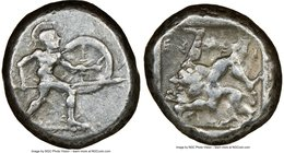 PAMPHYLIA. Aspendus. Ca. mid-5th century BC. AR stater (18mm, 3h). NGC VF. Helmeted nude hoplite warrior advancing right, shield in left hand, spear f...