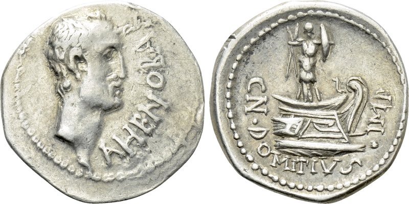 CN. DOMITIUS L. F. AHENOBARBUS. Denarius (41-40 BC). Uncertain mint along the Ad...