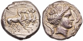 Sicily, Lilybaion. Silver Tetradrachm (16.80 g), ca. 325-305 BC. ['RSMLQRT'] in exergue, charioteer, holding kentron and reins, driving galloping quad...
