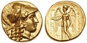 Macedonian Kingdom. Philip III Arrhidaios. Gold Stater (8.56 g), 323-317 BC. Babylon, ca. 323-318/7 BC. Head of Athena right, wearing crested Corinthi...