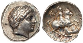 Paeonian Kingdom. Patraos. Silver Tetradrachm (12.47 g), 335-315 BC. Damastion (?). Laureate head of Apollo right. Reverse: ΠATPAOY, warrior on hor...