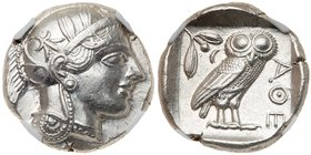Attica, Athens. Ca. 440-404 BC. Silver Tetradrachm (17.20 g). Helmeted head of Athena right, frontal eye. Reverse: AΘE, owl standing right, head...