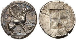 "Ionia, Teos (c. 480-449 B.C.), an exceptional pair of Silver Staters. T-HI-O-И, winged male griffin seated right on ""leaf and tongue"" exergual line, w..."