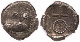 Cyprus, Salamis. Uncertain king. Silver Stater (10.79 g), ca. 445-411 BC. 'Euelthontos' (Cypriot) around, Ram recumbent right; above, pellet-in-cresce...