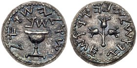 Judea, The Jewish War. Silver Shekel (13.04 g), 66-70 CE. Jerusalem, year 2 (67/8 CE). 'Shekel of Israel' (Paleo-Hebrew), ritual chalice with pearled ...