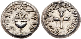 Judaea, The Jewish War. Silver Shekel (14.18 g), 66-70 CE. Jerusalem, year 2 (67/8 CE). 'Shekel of Israel' (Paleo-Hebrew), ritual chalice with pearled...