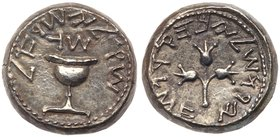 Judaea, The Jewish War. Silver Shekel (13.87 g), 66-70 CE. Jerusalem, year 3 (68/9 CE). 'Shekel of Israel' (Paleo-Hebrew), ritual chalice with pearled...