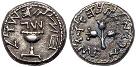 Judaea, The Jewish War. Silver 1/2 Shekel (6.77 g), 66-70 CE. Jerusalem, year 3 (68/9 CE). 'Half of a shekel' (Paleo-Hebrew), ritual chalice with pear...