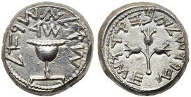 Judaea, The Jewish War. Silver Shekel (13.95 g), 66-70 CE. Jerusalem, year 4 (69/70 CE). 'Shekel of Israel' (Paleo-Hebrew), ritual chalice with pearle...