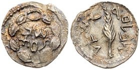 Judaea, Bar Kokhba Revolt. Silver Zuz (2.73 g), 132-135 CE. Year 2 (133/4 CE). 'Simon' (Paleo-Hebrew) within wreath of thin branches wrapped around ei...