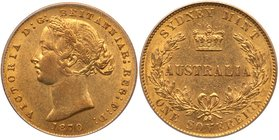 Victoria (1837-1901), Gold Sovereign, Sydney Branch Mint, 1870, struck in Gold alloyed with 8.33% Copper. Second young head left with wreath of banksi...