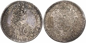Olmutz. Karl III Josef Herzog v. Lothringen (1695-1711), silver Taler, 1706. Peruked bust of the bishop right. Rev. Crowned oval arms on cross support...