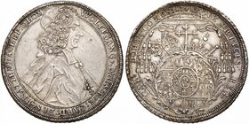 Olmutz. Wolfgang v. Schrattenbach (1711-1738). Silver Taler, 1714/3. (28.23g). Capped bishop's bust right. Rev. Hatted, mitred and crowned oval Arms (...