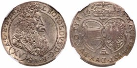 HRE. Leopold (1657-1705). Silver XV Kreuzer 1694. Tyroll. Hall. Höllhuber (HAL 94.1.1, Herinek 985). Small flaw separates coin from a gem categor...