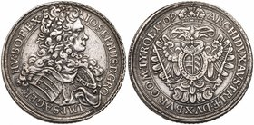 HRE Joseph I (1705-1711). Silver Taler,1709 IMH. Vienna. (28.06g). Peruked and aromored bust right wearing Order. Rev. Imperial eagle, oval Arms on br...