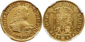 Fernando VI (1746-1760). Gold 4 Escudos, 1750/5 J, Santiago mint. Small standard bust to right. Rev. Small crowned Hapsburg arms within chain of the O...