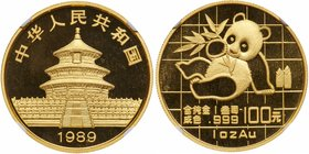 People's Republic. Gold 100 Yuan, 1989. One Ounce. Large Date variety. Panda series (KM-229). In NGC holder graded MS 69. Value $1,300 - UP