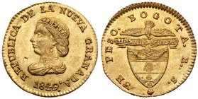 Republic. Gold 1 Peso, 1840/39-RS, Bogota mint. Draped Liberty head left. Rev. Condor with banner above coat of arms, mint above (Fr 77; KM 93). Uncir...