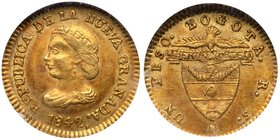 Republic. Gold 1 Peso, 1842-RS, Bogota mint. Draped Liberty head left. Rev. Condor with banner above coat of arms, mint above (Fr 77; KM 93). In NGC h...
