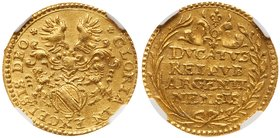 Strasbourg. City. Gold Ducat (1650). Helmeted arms with lion supporters. Rev. Four line inscription within wreath (Fr 237; KM 424) In NGC holder grade...