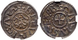 Charlemagne (768-814) Silver Denier, undated. Bourges mint. Karlus monogram within beaded border, BITURICAS. Rev. Short cross pattee, +CARLVS REX FR (...
