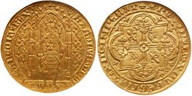 Charles V (1364-1380). Gold Franc a Pied, undated. Armored king with sword and sceptre, standing under Gothic dais. Rev. Floriated cross in quadrilobe...