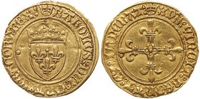 Louis XII (1498-1515). Gold Half Ecu d'or au soleil, undated (1.71g). Crowned arms of France, small sun above. Rev. Floriated cross (Fr 324; Ciani 901...