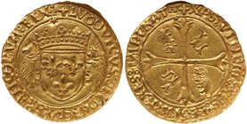 Louis XII (1498-1515). Gold Ecu d'or au porc-épic, undated. Crowned arms flanked by two porcupines. Rev. Floriated cross, in two angles an L, i...